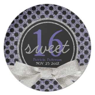 Sweet 16 Black Purple Black Polkadots Party Plate