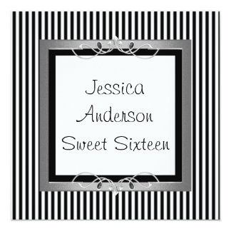 Sweet 16 Black & White Stripe Jewel Frame Party Card