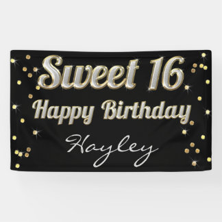 Sweet 16 Bling Typography Gold Confetti Black Banner