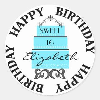 Sweet 16-Blue Cake Classic Round Sticker