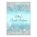 Sweet 16 Blue Diamond Snowflake Winter Wonderland 5x7 Paper Invitation Card