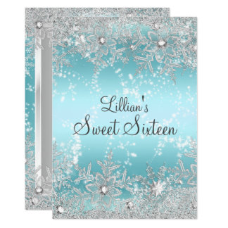 Sweet 16 Blue Diamond Snowflake Winter Wonderland Card