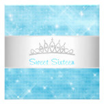 Sweet 16 Blue Glitter Silver Jewel Tiara Party 16 Personalized Invite