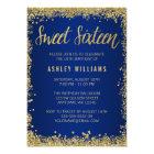 Sweet 16 Blue Gold Glitter Birthday Card