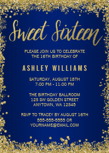 Sweet 16 birthday invitations announcements zazzle sweet 16 blue gold glitter birthday invitation filmwisefo