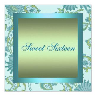 Sweet 16 Blue/Green Flower Design Birthday Invite