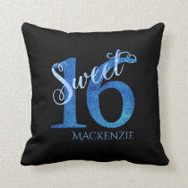 Sweet 16 Blue Grunge Modern 16th Birthday Party Throw Pillow