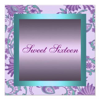 Sweet 16 Blue/Purple Flower Design Birthday Invite