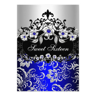 Sweet 16 Blue Silver Black Floral Jewel Party 5x7 Paper Invitation Card