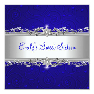 Sweet 16 Blue Silver Floral Love Birthday Party Invitation