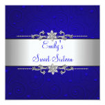 Sweet 16 Blue Silver Floral Love Birthday Party Custom Invitations