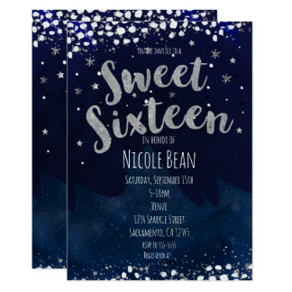 Sweet 16 Blue & Silver Starry Night Invitations