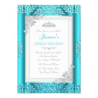 Sweet 16 Blue Teal Silver Lace Damask Tiara Card