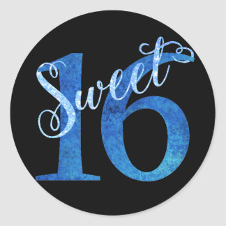 Sweet 16 Blue   Watercolor 16th Birthday Party Classic Round Sticker