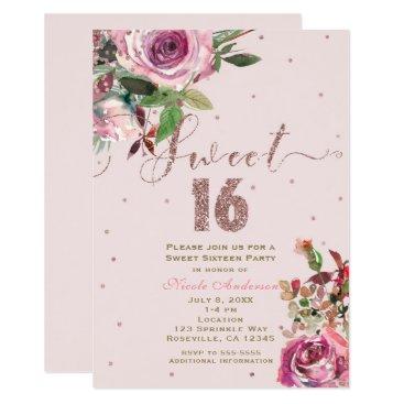 printabledigidesigns SWEET 16 Blush Pink Rose Gold Floral Modern Party Card