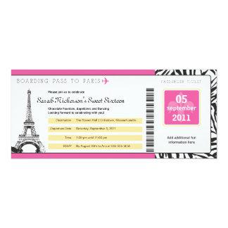 Sweet 16 Boarding Pass to Paris Card