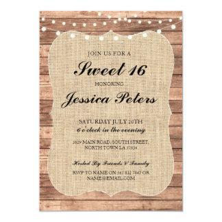 Sweet 16 Burlap Lights Rustic Wood Invitation