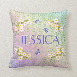 Sweet 16 Butterfly Garden Throw Pillow