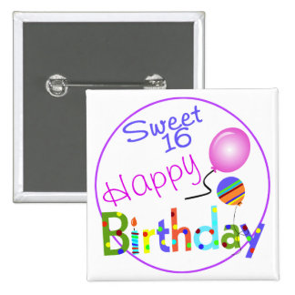 Sweet 16 2 inch square button