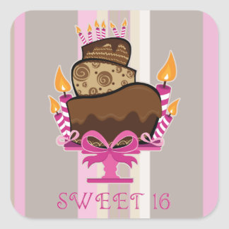 Sweet 16 Cake & Candles Sticker
