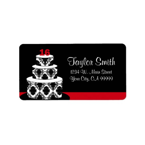 Sweet 16 Cake in Red Personalized Address Labels