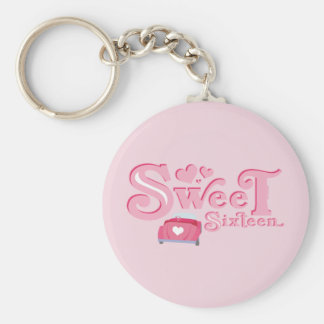 Sweet 16 Car Heart Basic Round Button Keychain