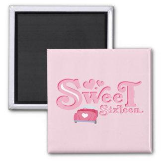 Sweet 16 Car Heart Magnet