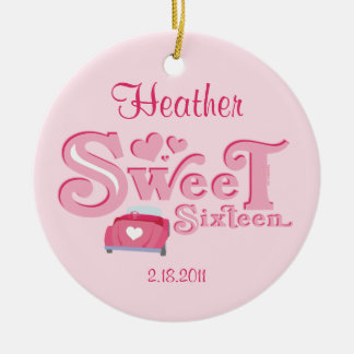 Sweet 16 Car Heart Personalized Ornament
