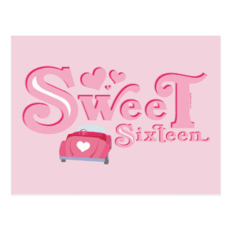Sweet 16 Car Heart Postcard