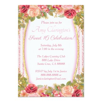 Sweet 16 Card Pink Floral Gold Glitter