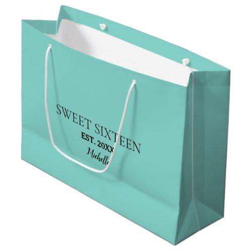Sweet 16 Celebrate Big Birthday Tiara Party Large Gift Bag