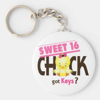 Sweet 16 Chick 1 Basic Round Button Keychain
