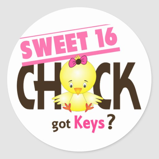 Sweet 16 Chick 1 Round Stickers