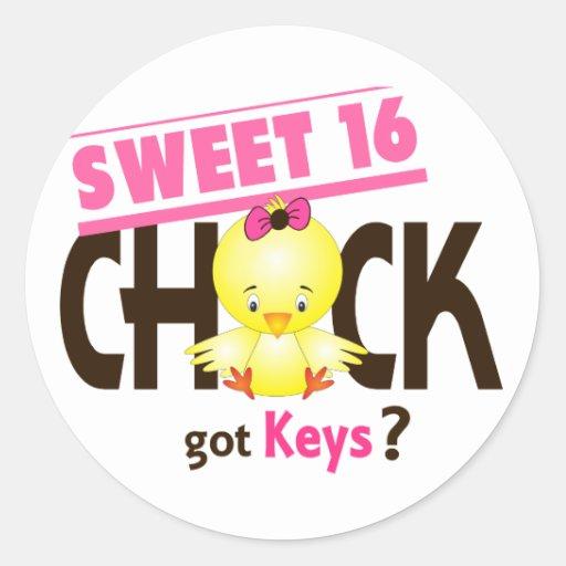 Sweet 16 Chick 1 Round Stickers