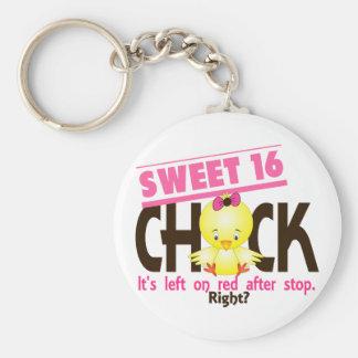 Sweet 16 Chick 2 Basic Round Button Keychain