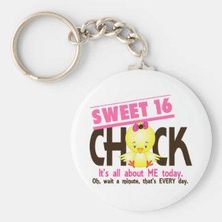 Sweet 16 Chick 3 Basic Round Button Keychain