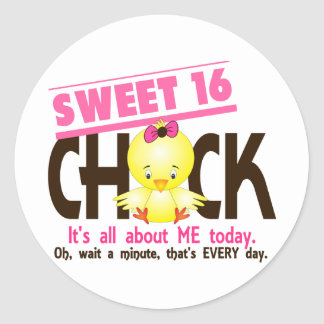 Sweet 16 Chick 3 Round Stickers