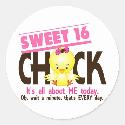 Sweet 16 Chick 3 Round Stickers