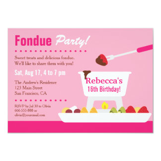 Sweet 16 Chocolate Fondue Birthday Party 4.5x6.25 Paper Invitation Card