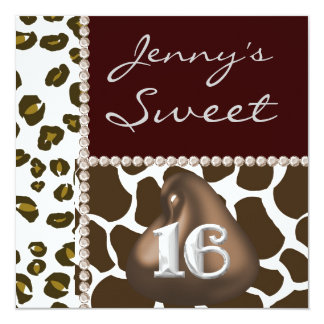 SWEET 16 Chocolate Kisses & Animal Print Party Inv Card