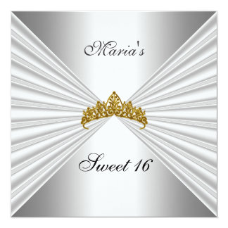 Sweet 16 Chrome Party Invitation Princess crown