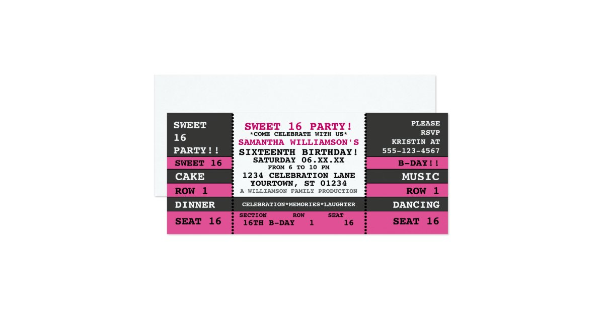 Concert Ticket Invitations Announcements – Concert Ticket Birthday Invitations