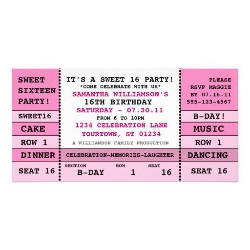 Sweet 16 Concert Ticket Invitation Photo Card | Zazzle