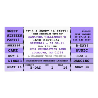 Sweet 16 Concert Ticket Invitation Photo Card