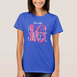 Sweet 16 Custom Name Birthday Gift Grunge Text A03 T-Shirt