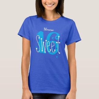 Sweet 16 Custom Name Birthday Gift Grunge Text A06 T-Shirt