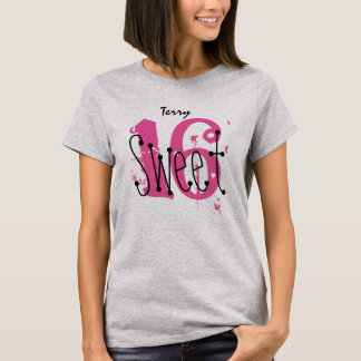 Sweet 16 Custom Name Birthday Gift Grunge Text A08 T-Shirt
