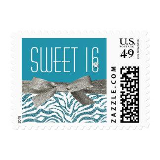 Sweet 16 Cute Aqua Zebra Faux Glitter Postage