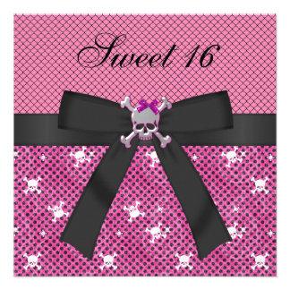 Sweet 16 Cute Skulls & Polka Dots Pink Invites