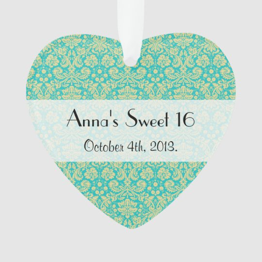 Sweet 16 - Damask, Ornaments, Swirls - Blue Yellow Ornament